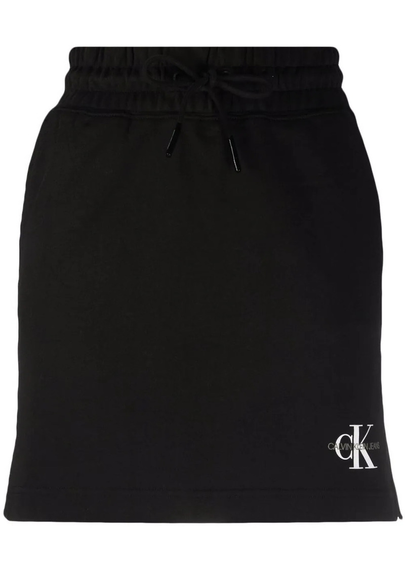 Calvin Klein logo-print organic cotton skirt