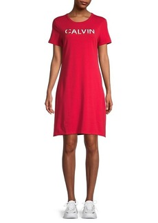 Calvin Klein Logo Stretch Cotton T-Shirt Dress