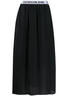 Calvin Klein logo stripe flared skirt
