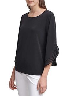 Calvin Klein Long Chiffon Blouse with Tulip Sleeve