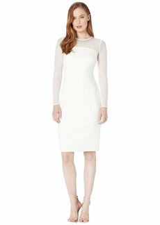 Calvin Klein Long Sleeve Sheath Dress w/ Embellished Neck Detail