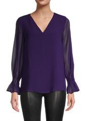 Calvin Klein Long-Sleeve Sheer Blouse