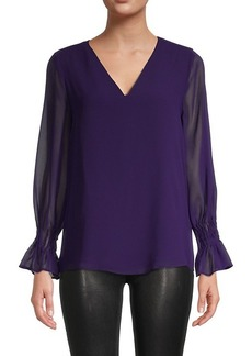 Calvin Klein Long-Sleeve Sheer Blouse