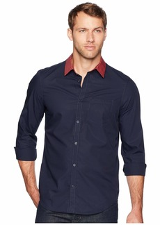 Calvin Klein Long Sleeve Stripe Collar Button Down