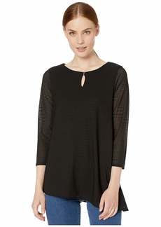 Calvin Klein Long Sleeve Textured Top with Angle Bottom
