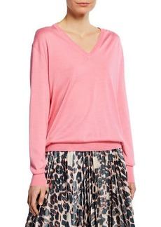 Calvin Klein Long-Sleeve V-Neck Cashmere Silk Sweater
