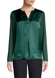 Calvin Klein Long Sleeves Split Neck Top
