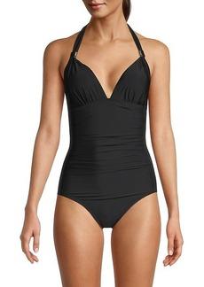 Calvin Klein LQD Shirred Halter One-Piece Swimsuit