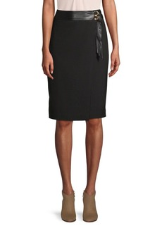 Calvin Klein Lux Belted Pencil Skirt