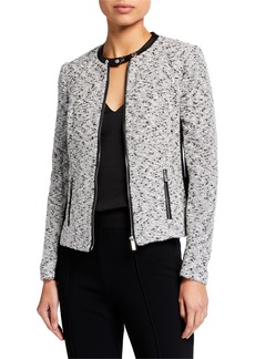 Calvin Klein Melange Tweed Faux-Leather Trim Jacket