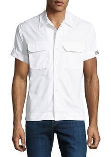Calvin Klein Men's Button-Front Short-Sleeve Cotton Pocket Shirt