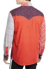 Calvin Klein Men's Floral-Pieced Western Shirt