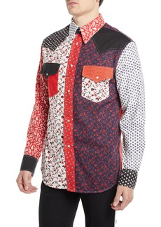 Calvin Klein Men's Floral-Pieced Western Shirt
