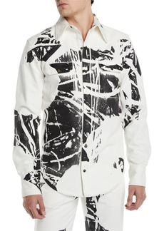 Calvin Klein Men's Graphic Denim Sport Shirt