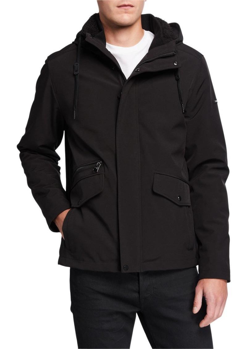 Calvin Klein Men's Sherpa-Lined Soft Shell Coat