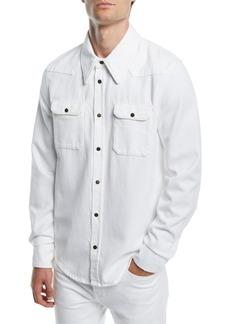 Calvin Klein Men's Solid Denim Snap-Front Shirt