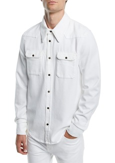 Calvin Klein Men's Solid Denim Snap-Front Shirt