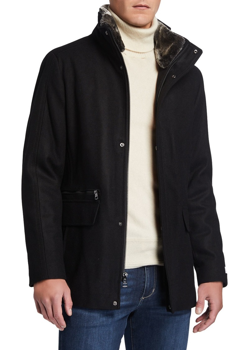 Calvin Klein Men's Wool-Blend Faux-Fur Trim Jacket