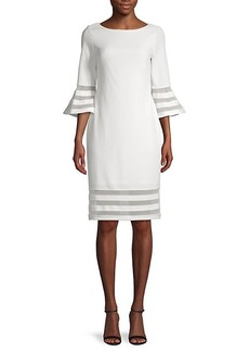 Calvin Klein Mesh-Stripe Sheath Dress