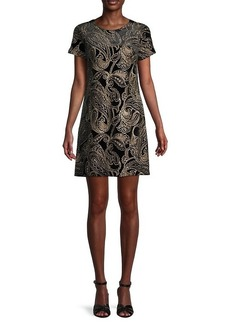 Calvin Klein Metallic Embroidery Paisley Dress