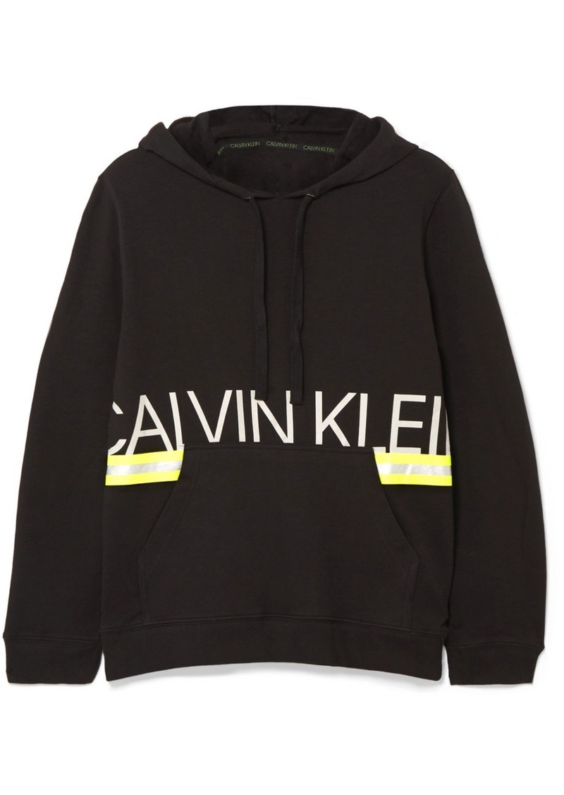 Calvin Klein Metallic Printed Stretch Cotton-jersey Hoodie