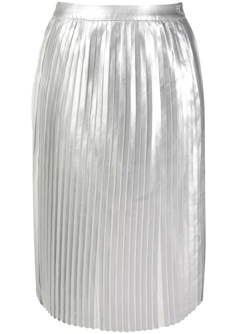 Calvin Klein metallic sheen pleated skirt