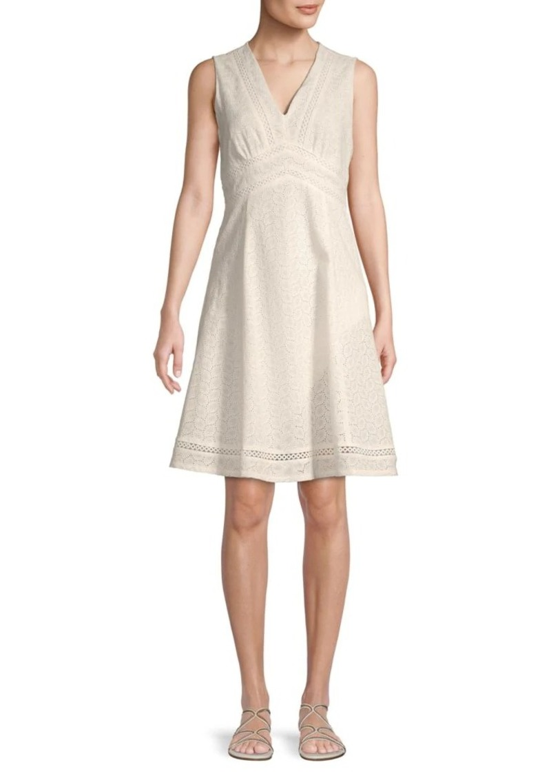 Calvin Klein Mini Eyelet Fit-And-Flare Dress