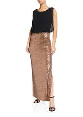 Calvin Klein Mixed-Media Blouson Sequin Twofer Column Gown