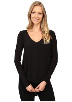 Calvin Klein Mixed Media Solid Long Sleeve Blouse