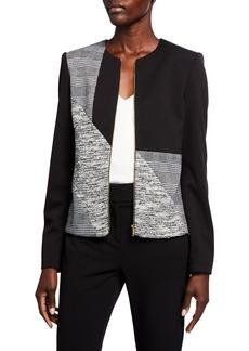 Calvin Klein Mixed-Media Zip-Front Blazer