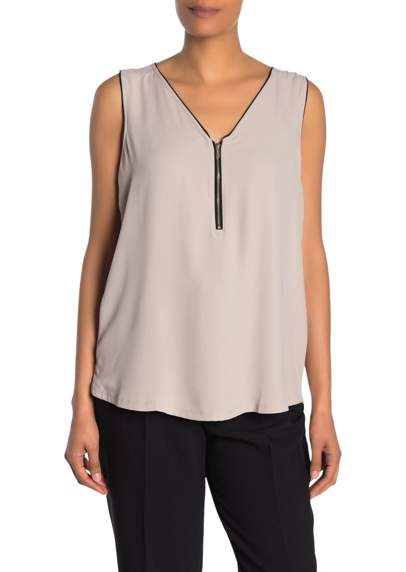 Calvin Klein Mixed Media Zip Sleeveless Shirt