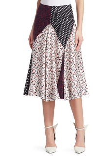 Calvin Klein Mixed Print Silk Midi Skirt