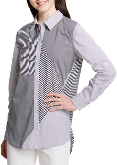 Calvin Klein Mixed-Stripe Hi-Lo Shirt