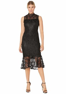 Calvin Klein Mock Neck Embroidered Lace Dress