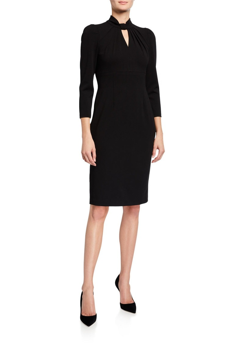 Calvin Klein Mock-Neck Keyhole 3/4-Sleeve Sheath Dress