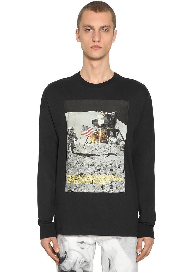 Calvin Klein Moon Landing Print Cotton Blend T-shirt