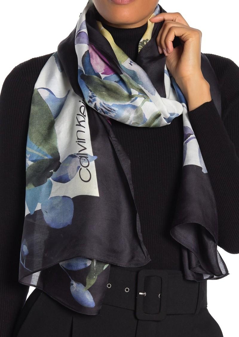 Calvin Klein Multi Floral Modal Silk Scarf