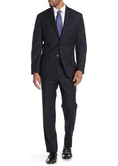 Calvin Klein Navy Stripe Two Button Notch Lapel Wool Slim Fit Suit