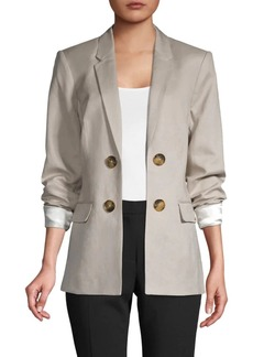 Calvin Klein Notch Lapel Linen-Blend Blazer