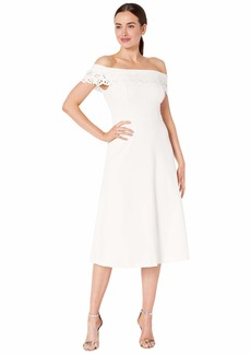 Calvin Klein Off Shoulder A-Line w/ Laser Cut Detail
