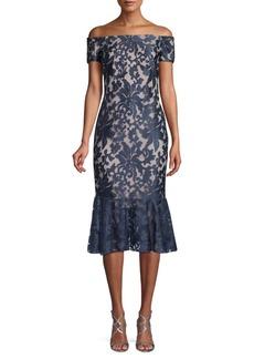 Calvin Klein Off-the-Shoulder Floral Lace Dress