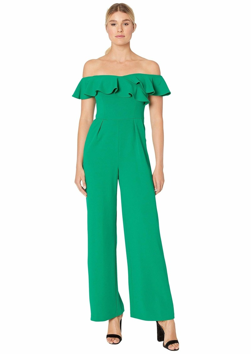 Calvin Klein Off Shoulder Ruffle Neck Jumpsuit