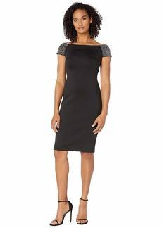 Calvin Klein Off Shoulder Sequin Arm Sheath