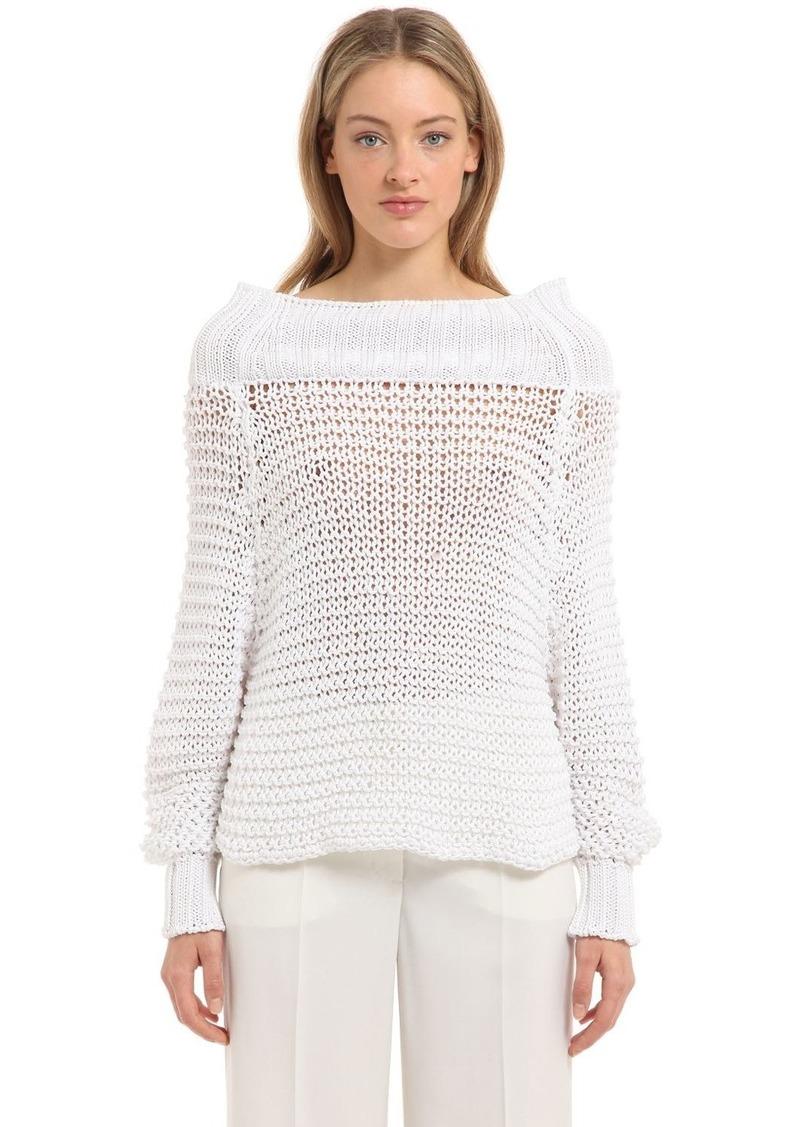 Calvin Klein Off The Shoulder Cotton Knit Sweater