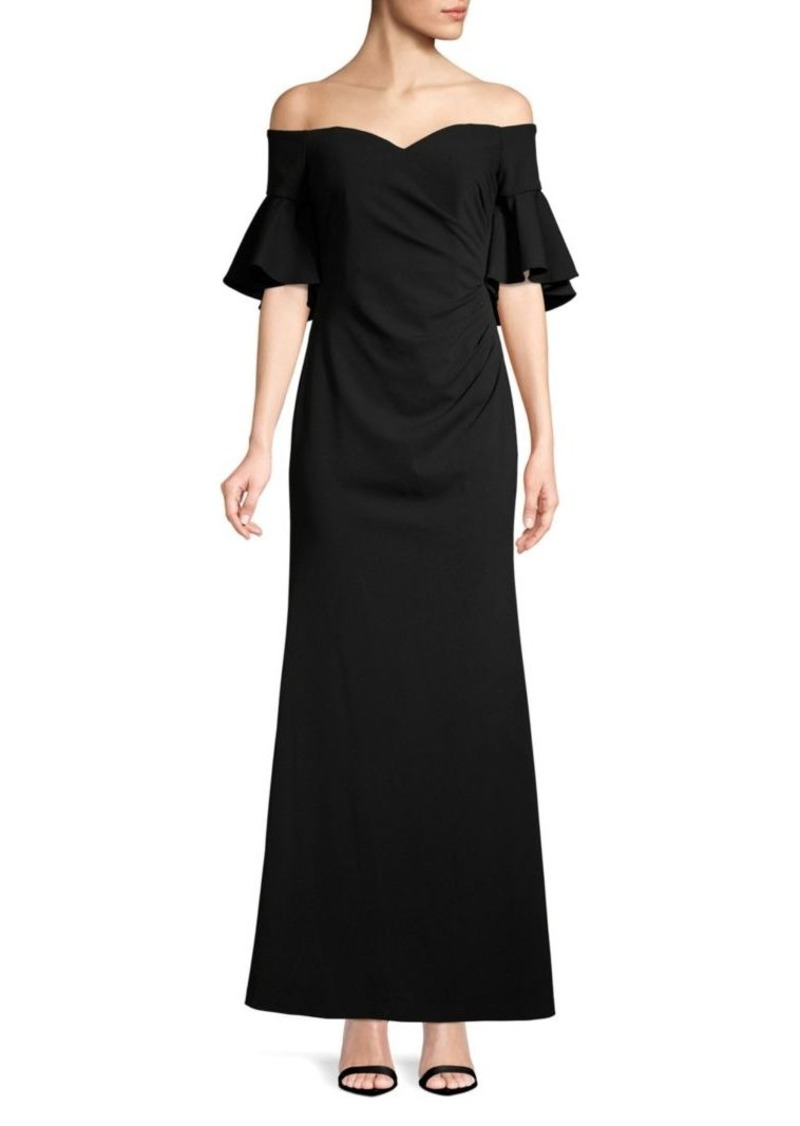 Calvin Klein Off-the-Shoulder Evening Gown