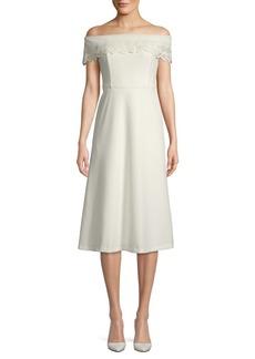 Calvin Klein Off-The-Shoulder Floral Eyelet Flare Dress
