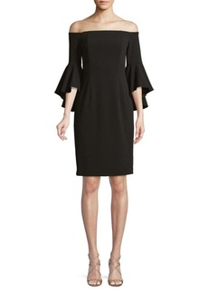 Calvin Klein Off-The-Shoulder Ruffled Bell-Sleeve Dress