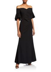 Calvin Klein Off-the-Shoulder Side Ruched Gown