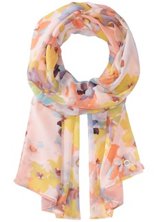 Ombre Abstract Floral Chiffon Scarf