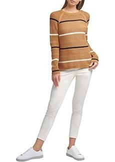 Calvin Klein Open Weave Stripe Crew Neck Sweater